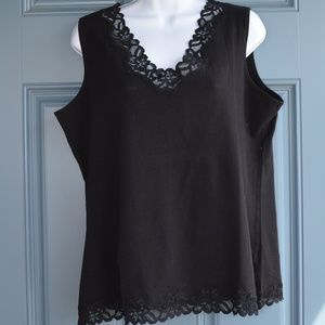 Black Double Lace Tank by Coldwater Creek Sz. XL
